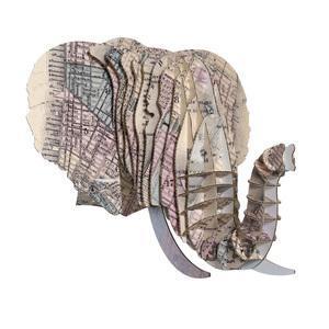 Tête Eléphant en Carton Recyclé New York - Taille M