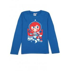 T-shirt bleu space girl