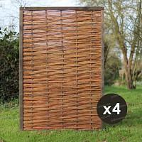 Panneau pin FSC et osier - 4pièces - 120x180cm tressage horizontal
