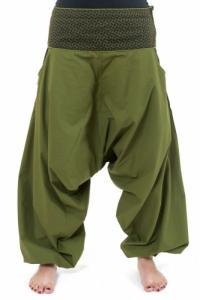 Pantalon sarwel mixte ethnique kaki imprime retro Nadehu