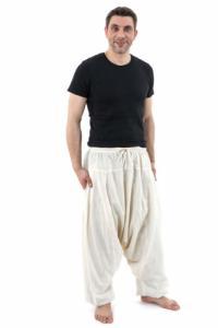 Pantalon sarwel Nepal zen homme femme coton leger creme Tara
