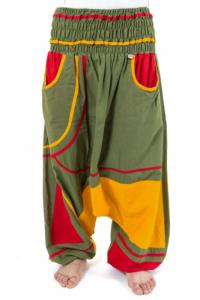 Sarouel elastique grande taille reggae babacool vert jaune rouge