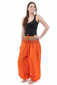 Pantalon sarouel babacool large smock orange sari brillant Miki