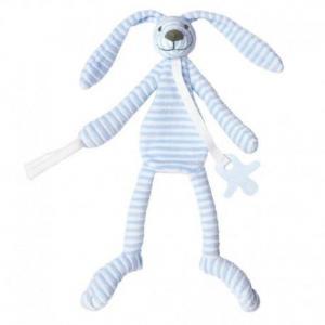 Happy horse doudou attache sucette lapin reece  bleu 30 cm - doudou