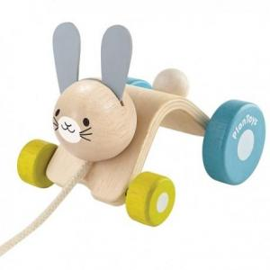 Plantoys jouet à tirer lapin sautillant - jouets en bois