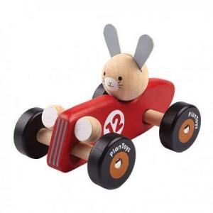 Petite voiture course rouge en bois plantoys