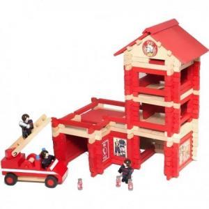 Jeujura  caserne de pompiers en bois (215 pcs) - jouets en bois du