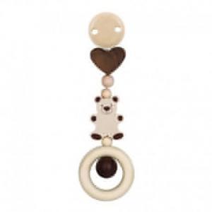 Hochet à clip bois naturel coeur - ours heimess - jouets accessoire