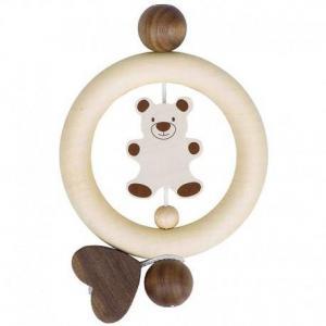 Hochet  anneau dentition en bois ours - coeur heimess - hochets bébé