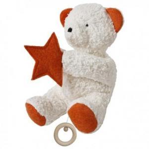 Boite à musique efie ours orange - blanc 27 cm - doudou coton bio