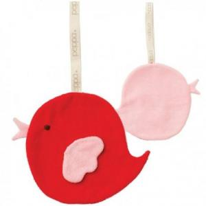 Mini doudou peppa attache sucette oiseau rouge - rose - doudou bio