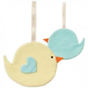 Mini doudou peppa attache sucette oiseau jaune - bleu - bio -