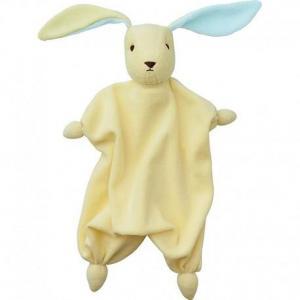 Peppa doudou mouchoir coton bio lapin tino jaune - bleu - doudou