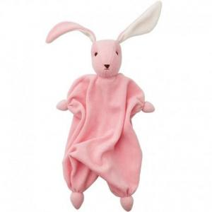 Peppa doudou mouchoir coton bio lapin tino rose - doudou bio