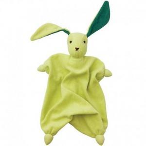 Peppa doudou mouchoir coton bio lapin tino vert tilleul - bébé
