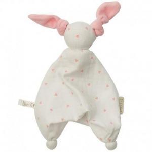 Doudou plat mouchoir coton bio floppy coeurs roses peppa  - doudou