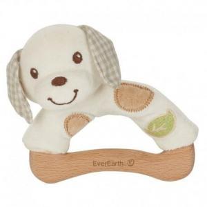 Hochet everearth chien bois - coton - hochet bio