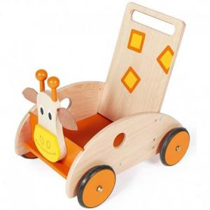 Chariot de marche avec freins girafe scratch - chariot en bois