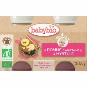Babybio Petits pots Pomme Myrtille 4m