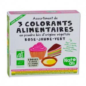 3 colorants alimentaires en poudre bio