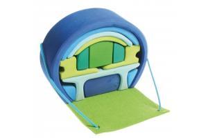 Maison de poupées mobile Bleue-Verte