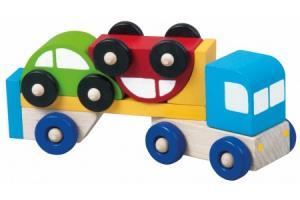 Petit Camion en bois avec 2 voitures