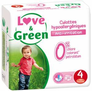 Culottes d'apprentissage jetables écologiques Love - Green Taille 4 MAXI 7-14kg