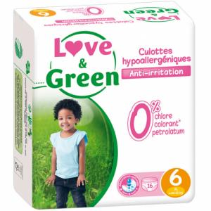 Culottes d'apprentissage jetables écologiques Love - Green Taille 6 XL +16kg