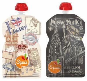 Lot de 2 Gourdes souples pour compotes et purées  Londres-New York
