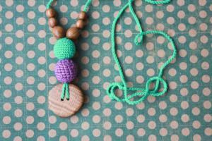Collier d'allaitement et de portage Purple - Mint Chêne - KC036