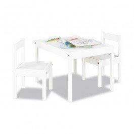 Table et 2 chaises en bois