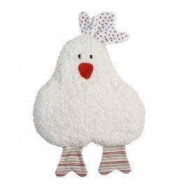 Hochet en coton biologique Poule rouge