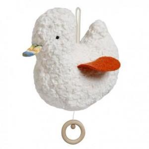 Boite à musique efie canard orange - blanc 16 cm - doudou coton bio