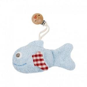 Hochet  clip poisson bleu vichy  efie 15 cm - hochet coton bio gots