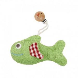 Hochet  clip poisson vert vichy  efie 15 cm - hochet coton bio gots