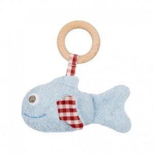 Hochet anneau de dentition poisson bleu vichy  efie 15 cm - hochet