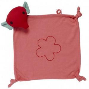 Doudou plat carré franck - fischer eléphant rose mimi - doudou