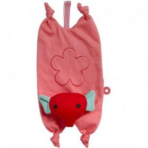 Doudou plat attache tétine franck - fischer eléphant rose mimi -