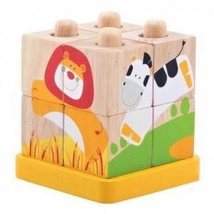 Wonderworld cube puzzle 3d safari - jouets en bois