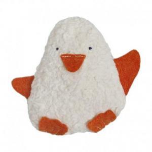 Doudou boite à musique efie pingouin coton bio blanc - orange -