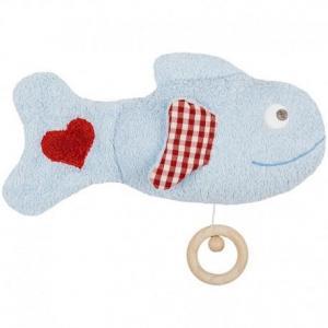 Doudou peluche musicale poisson bleu amoureux efie  29 cm - jouet