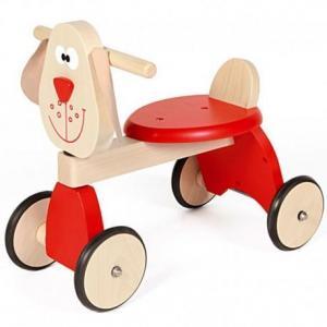 Porteur trotteur chien rouge scratch - porteur en bois