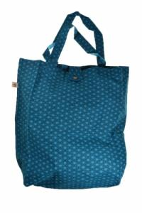 Sac tote bag coton imprime ethnic hoshi bleu vert
