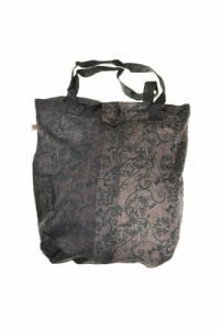 Sac tote bag coton imprimé ethnic babachic gris noir