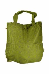 Sac tote bag coton imprimé ethnic bengali fire vert kaki