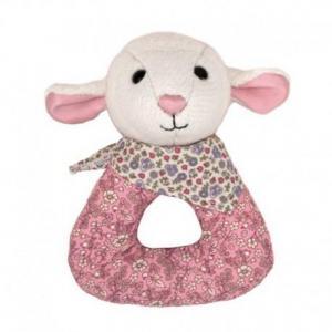 Hochet anneau fleurie agneau apple park coton bio - jouets bio
