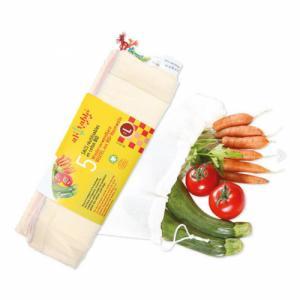5 Sacs fruits et légumes en coton bio
