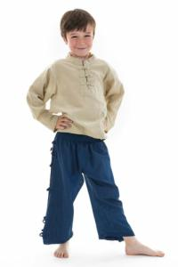 Chemise nepalaise enfant col mao chanvre Keta