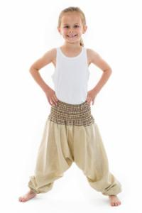 Pantalon enfant aladin ete creme chanvre Mini Ganesh