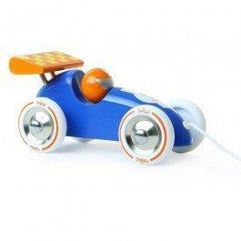 Voiture de course à traîner bleue-orange